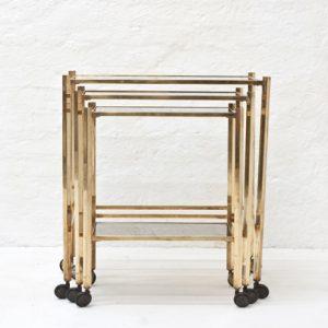 Italian-brass-nesting-table-on-wheels-1970