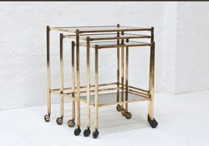 Italian-brass-nesting-table-on-wheels-1970